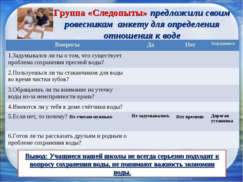 * * Группа «Следопыты» предложили своим ровесникам анкету для определения отн...