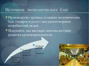 Источник экономических благ Производство- процесс создания экономических благ