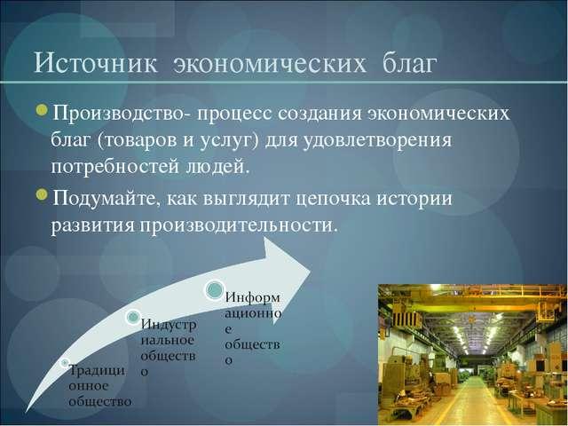 Источник экономических благ Производство- процесс создания экономических благ...