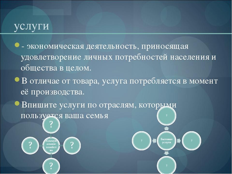 услуги - экономическая деятельность, приносящая удовлетворение личных потребн...