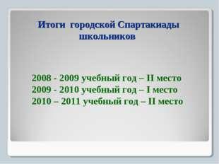 Итоги городской Спартакиады школьников 2008 - 2009 учебный год – II место 200