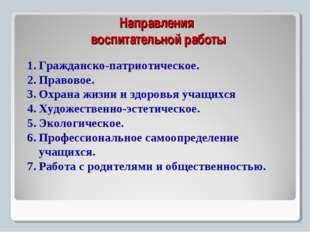 Направления воспитательной работы Гражданско-патриотическое. Правовое. Охран