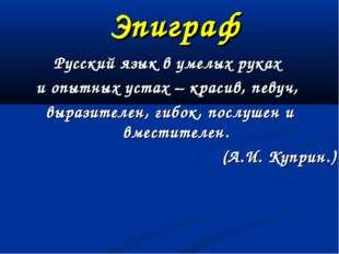 Эпиграф Русский язык в умелых руках и опытных устах – красив, певуч, выразите