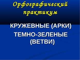 Орфографический практикум КРУЖЕВНЫЕ (АРКИ) ТЕМНО-ЗЕЛЕНЫЕ (ВЕТВИ)