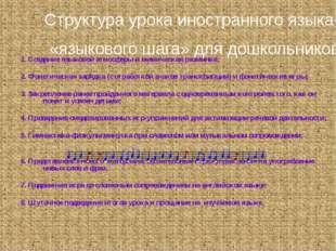 1. Создание языковой атмосферы и мимическая разминка; 2. Фонетическая зарядка