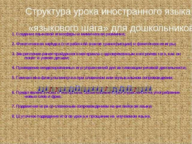 1. Создание языковой атмосферы и мимическая разминка; 2. Фонетическая зарядка...