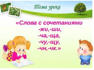 «Слова с сочетаниями -жи,-ши, -ча,-ща, -чу,-щу, -чн,-чк.»