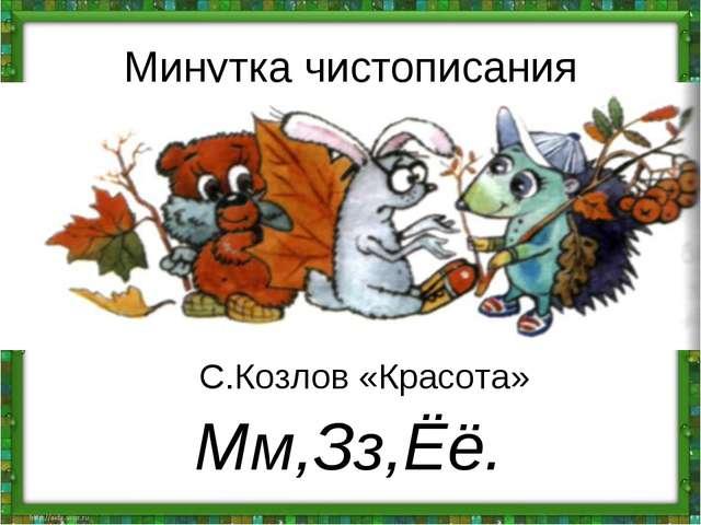 Минутка чистописания Мм,Зз,Ёё. С.Козлов «Красота»