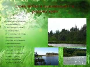 Слова любви и признательности родному краю За хорошим настроением Я на озеро