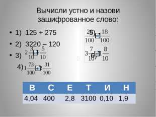 Вычисли устно и назови зашифрованное слово: 1) 125 + 275 5) 2) 3220 – 120 3)