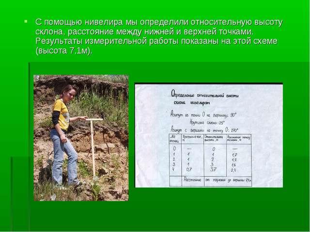С помощью нивелира мы определили относительную высоту склона, расстояние межд...