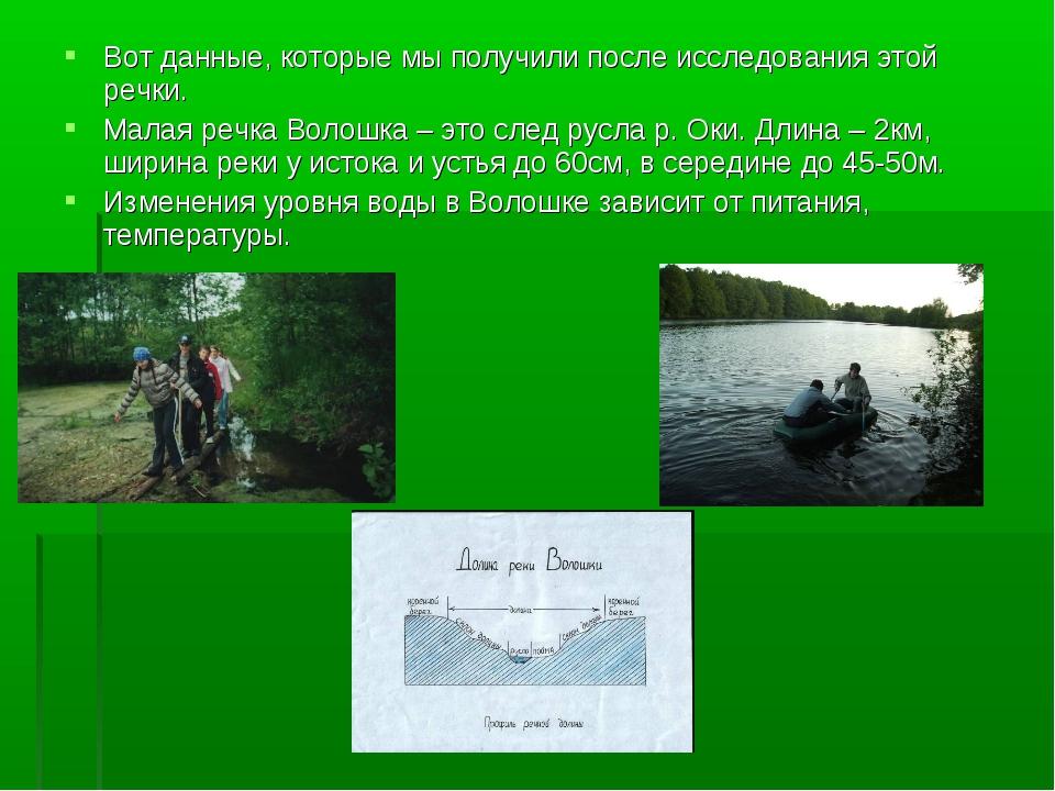 Вот данные, которые мы получили после исследования этой речки. Малая речка Во...