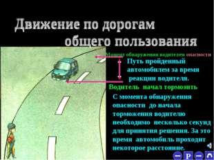 * Момент обнаружения водителем опасности Водитель начал тормозить Путь пройде