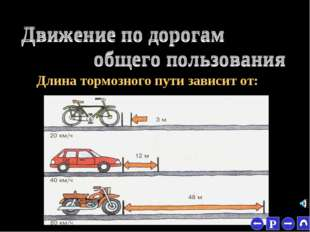 * СКОРОСТИ Длина тормозного пути зависит от: