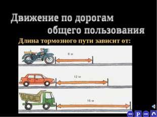 * МАССЫ Длина тормозного пути зависит от: