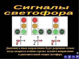 * Движение в иных направлениях будет разрешено только когда загорится зелёная