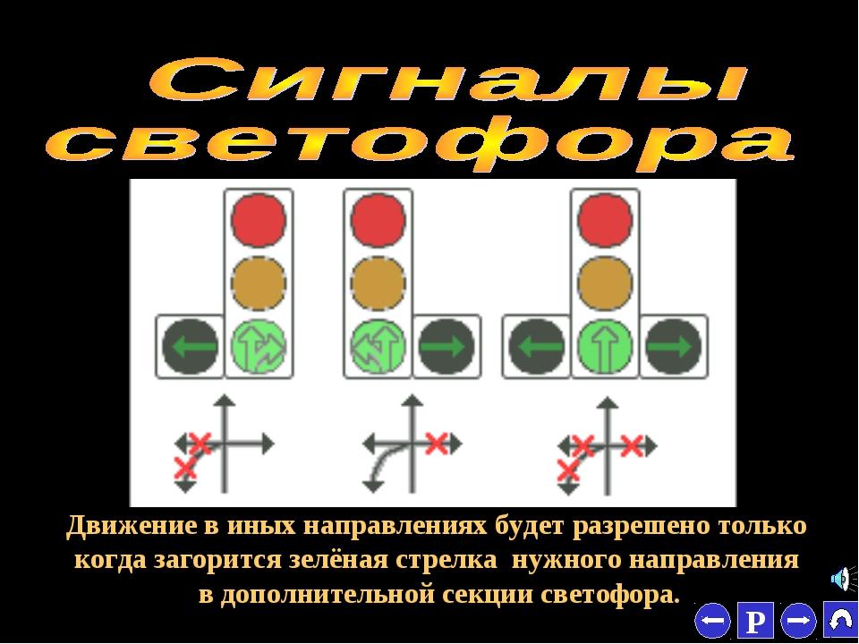 * Движение в иных направлениях будет разрешено только когда загорится зелёная...