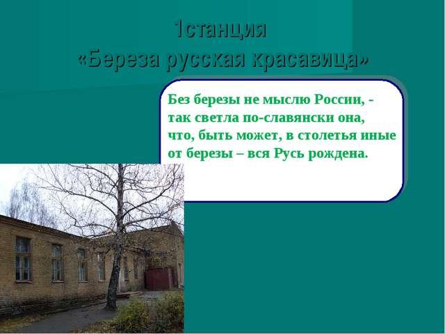 1станция «Береза русская красавица» Без березы не мыслю России, - так светла...
