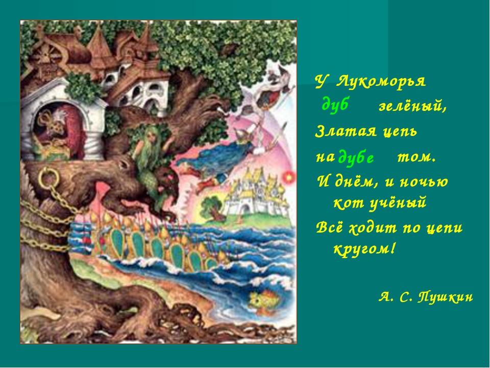 У лукоморья дуб зелёный; златая цепь на дубе том: и днём и ночью кот учёный всё