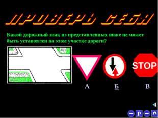 * Какой дорожный знак из представленных ниже не может быть установлен на этом