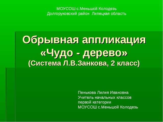 Обрывная аппликация «Чудо - дерево» (Система Л.В.Занкова, 2 класс) МОУСОШ с.М...
