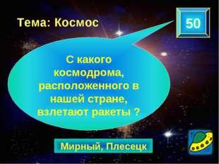 Мирный, Плесецк 50 Тема: Космос С какого космодрома, расположенного в нашей с