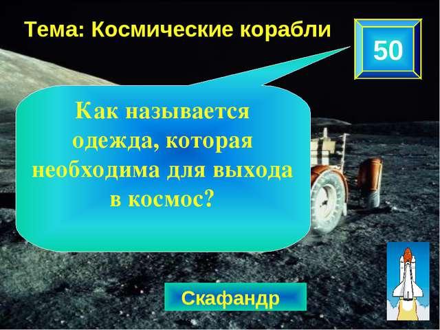 50 Тема: Космические корабли Скафандр Как называется одежда, которая необходи...
