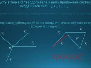 Пусть в точке О твердого тела к нему приложена система сходящихся сил: F1, F2