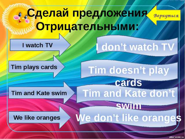 I watch TV Tim plays cards Tim and Kate swim We like oranges I don't watch TV...