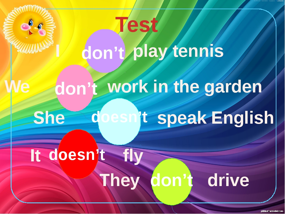 Test I play tennis We work in the garden don't She speak English doesn't It f...