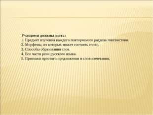 Учащиеся должны знать: 1. Предмет изучения каждого повторяемого раздела лин