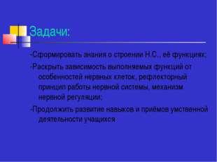 Задачи: -Сформировать знания о строении Н.С., её функциях; -Раскрыть зависимо