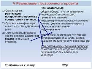 V Реализация построенного проекта  1) Организовать реализацию построенного п
