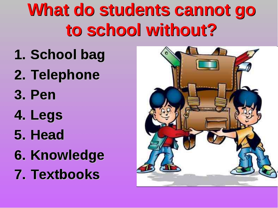 What do students cannot go to school without? School bag Telephone Pen Legs H...