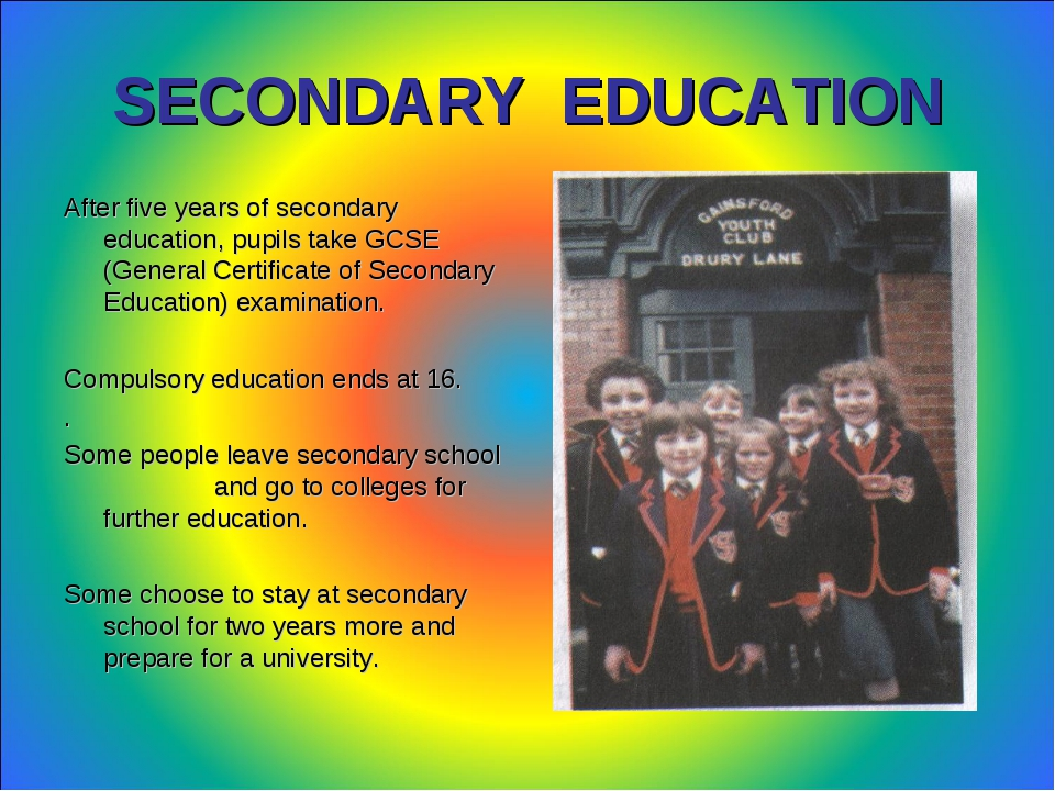 the secondary education in britain