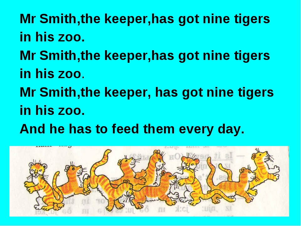 Mr Smith,the keeper,has got nine tigers in his zoo. Mr Smith,the keeper,has g...