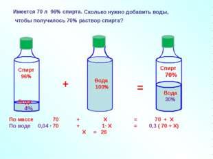 Вода 100% + = По массе 70 + Х = 70 + Х По воде 0,04 ∙ 70 + 1∙ Х = 0,3 ( 70 +