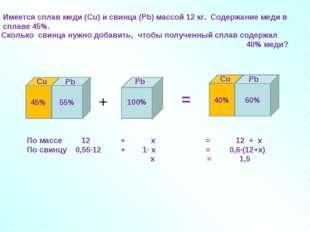 + = По массе 12 + х = 12 + х По свинцу 0,55∙12 + 1∙ х = 0,6∙(12+х) х = 1,5 Им