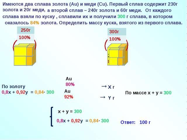 92% 80% →Х г → Y г Au 80% Au 92% По массе x + y = 300 По золоту 0,8х + 0,92y...