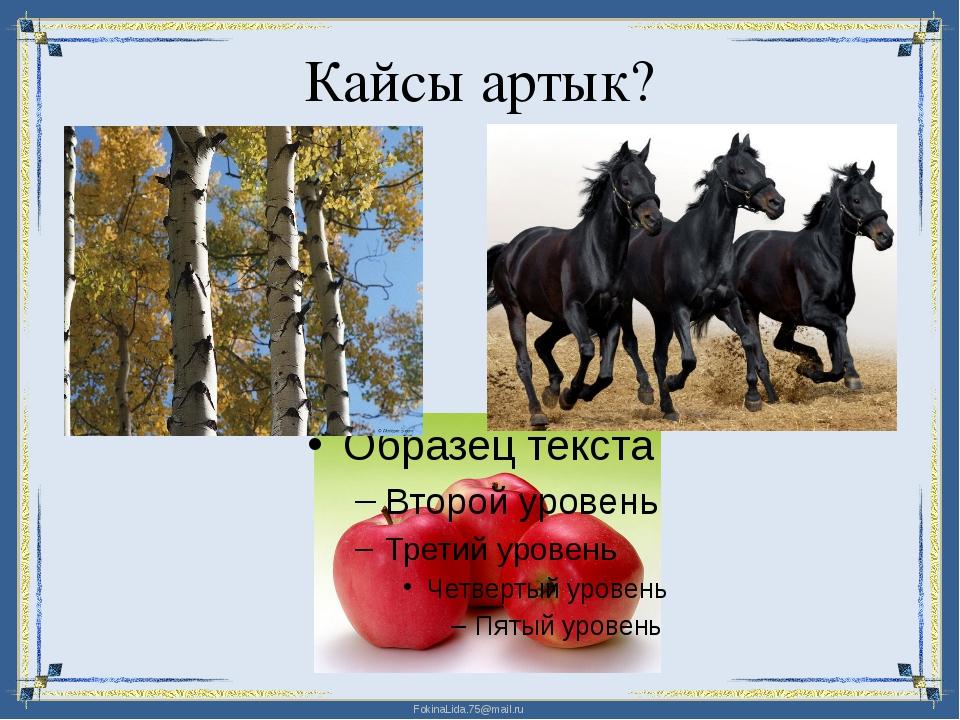 Кайсы артык? FokinaLida.75@mail.ru
