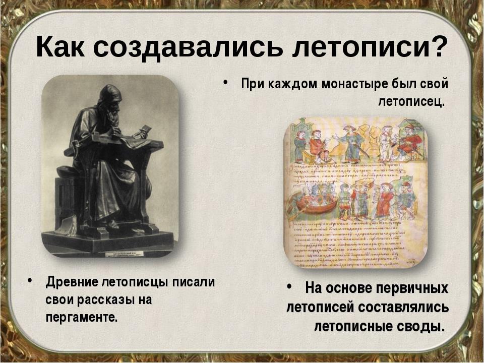 Как создавались летописи? Древние летописцы писали свои рассказы на пергамент...