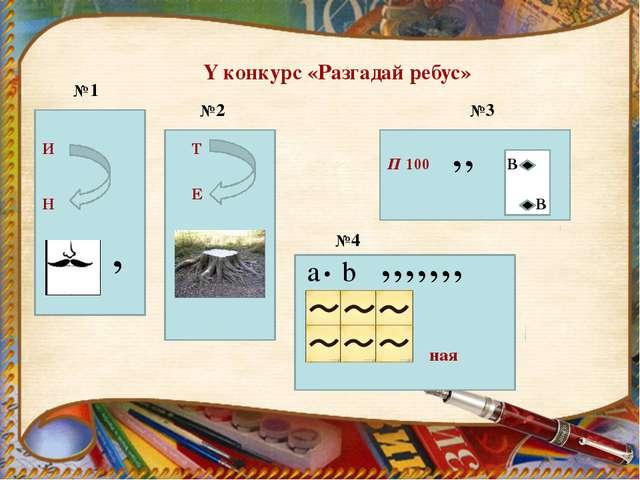 Y конкурс «Разгадай ребус» №1 И Н , №2 Т Е №3 П 100 ВВ В В ,, №4 a b . ,,,,,...