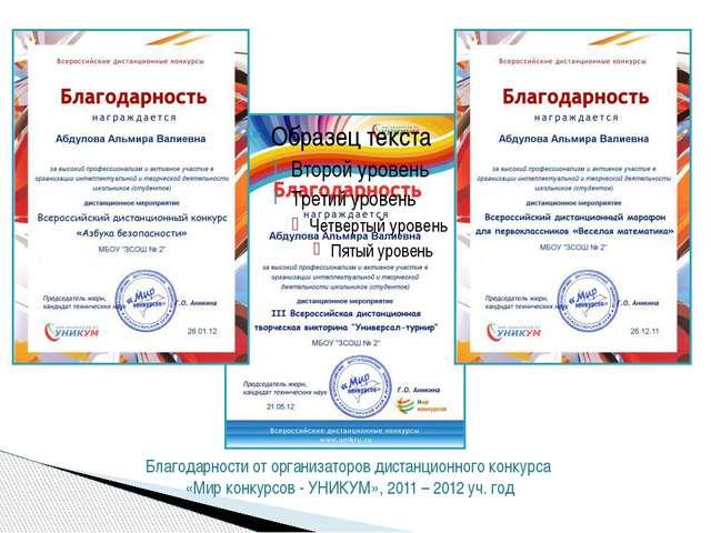 Благодарственные письма от организаторов конкурса «Мир конкурсов - УНИКУМ» и...