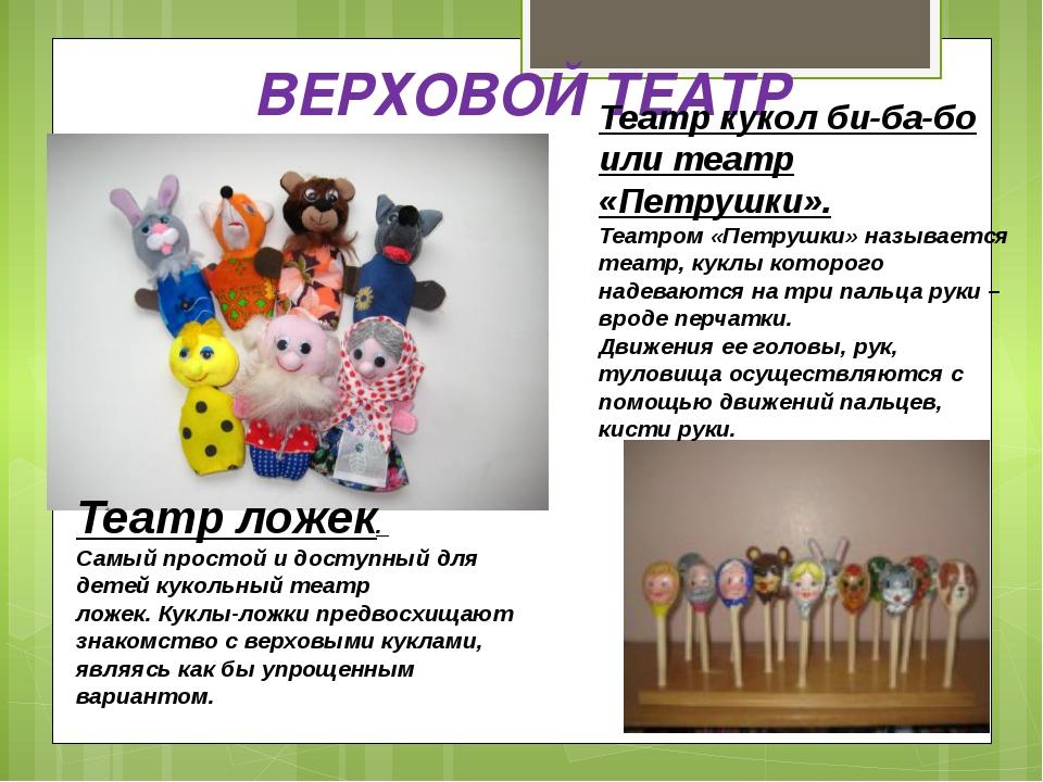 Виды кукольного театра