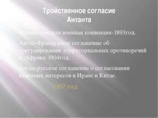 Тройственное согласие Антанта Франко-русская военная конвенция-1893год. Англо