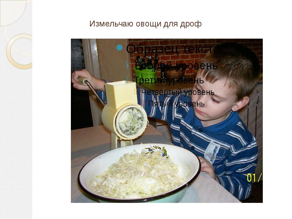 Измельчаю овощи для дроф