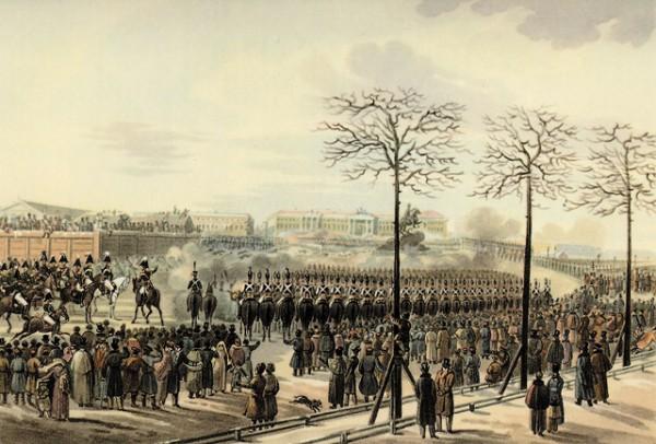 Санкт-Петербург. Сенатская площадь 14 декабря 1825 года. Рисунок Кольмана.