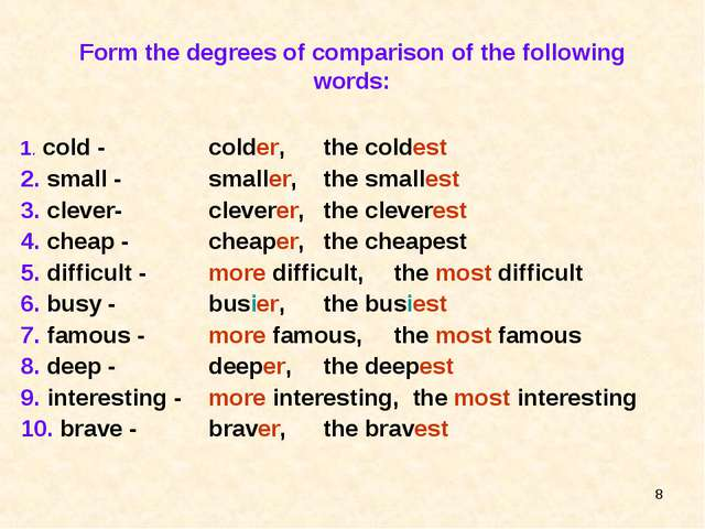 * Form the degrees of comparison of the following words: 1. cold - 2. small -...