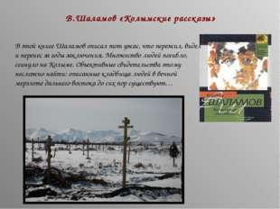В.Шаламов «Колымские рассказы» В этой книге Шаламов описал тот ужас, что пере