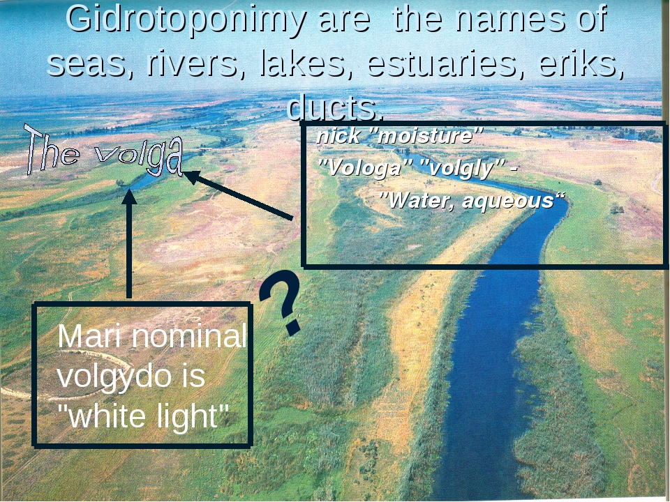 Gidrotoponimy are the names of seas, rivers, lakes, estuaries, eriks, ducts....